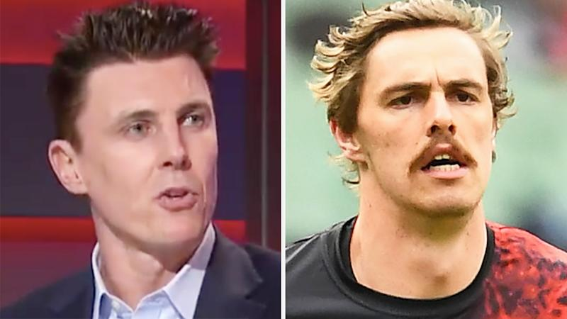 A 50-50 split image shows Essendon Bombers great Matthew Lloyd on the left and Joe Daniher on the right.