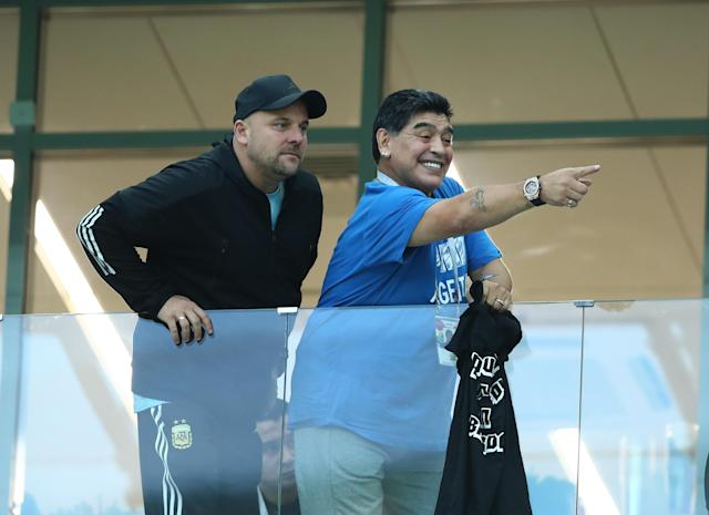 <p>Former Argentina legend Diego Armando Maradona on the stands at Nizhny Novgorod Stadium, Russia on June 21, 2018.<br> (Photo by Matteo Ciambelli/NurPhoto via Getty Images) </p>