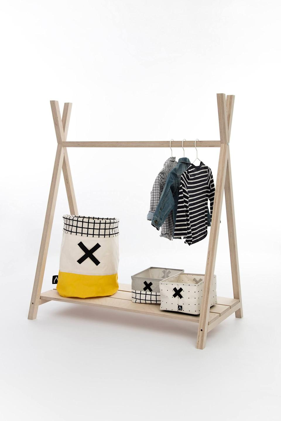 """<h3><a href=""""https://www.anthropologie.com/shop/gautier-studio-diabolo-coat-rack"""" rel=""""nofollow noopener"""" target=""""_blank"""" data-ylk=""""slk:Gautier Studio Diabolo Coat Rack"""" class=""""link rapid-noclick-resp"""">Gautier Studio Diabolo Coat Rack</a> </h3><p>The compact design of this freestanding coat rack makes for a stylishly minimalist and functional solution to saving space — stick one end up against a wall to section the room off with hanging coats as the """"screen.""""</p><br><br><strong>Gautier Studio</strong> Gautier Studio Diabolo Coat Rack, $214, available at <a href=""""https://www.anthropologie.com/shop/gautier-studio-diabolo-coat-rack"""" rel=""""nofollow noopener"""" target=""""_blank"""" data-ylk=""""slk:Anthropologie"""" class=""""link rapid-noclick-resp"""">Anthropologie</a>"""