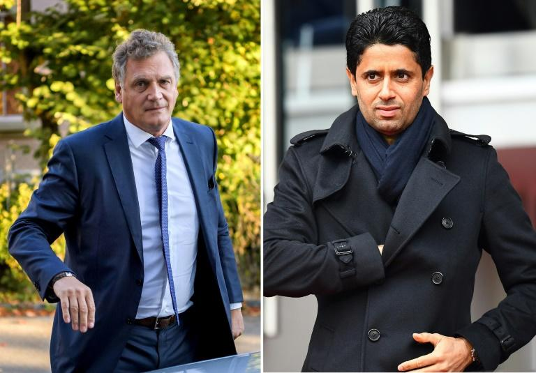 Former FIFA secretary general Jerome Valcke (L) and (R) Paris Saint-Germain president Nasser Al-Khelaïfi are both to face trial in Switzerland over alleged corruption