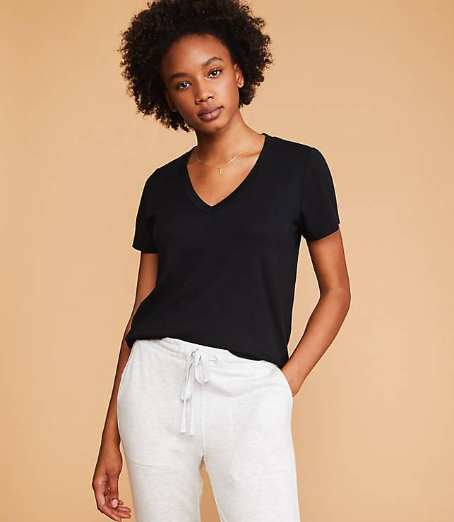 "Lou & Grey's north star is to make things that are ""so crazy soft"" you'll want to live in them, and this tee is no exception. Much like the brand's <a href=""https://fave.co/2Wb0qa1"" rel=""nofollow noopener"" target=""_blank"" data-ylk=""slk:matching sweatsuits"" class=""link rapid-noclick-resp"">matching sweatsuits</a> these will feel like butter on your skin. $30, Lou & Grey. <a href=""https://www.louandgrey.com/softserve-v-neck-tee/506591?selectedColor=1469"" rel=""nofollow noopener"" target=""_blank"" data-ylk=""slk:Get it now!"" class=""link rapid-noclick-resp"">Get it now!</a>"