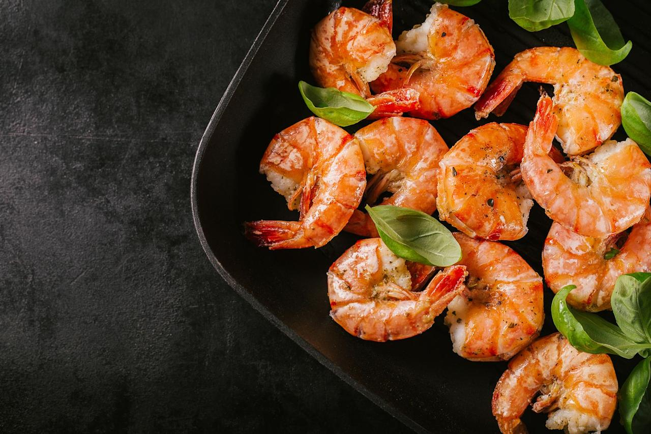 "<p><strong>Quantity:</strong> 4 jumbo shrimp, 6 large shrimp, or 7 medium shrimp </p><p><strong>Per serving:</strong> 85 calories, 20 g protein, 0 g carbs, 0.5 g fat</p><p><strong>READ MORE</strong>: <a href=""https://www.womansday.com/food-recipes/food-drinks/g28357223/seafood-recipes/"" target=""_blank"">35 Delicious Seafood Recipes to Cook Right Now</a></p>"