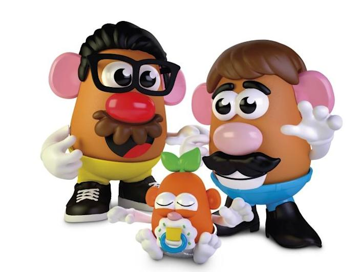 The genderless Create Your Own Potato Family toy is two adult potatoes and a baby