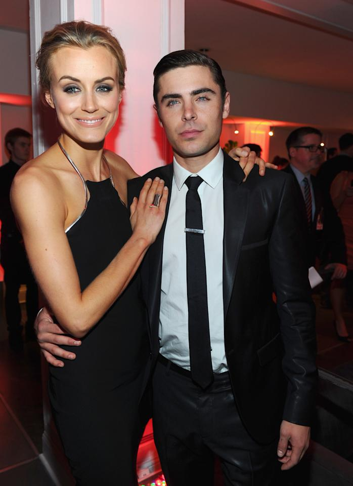 "HOLLYWOOD, CA - APRIL 16:  Actors Taylor Schilling and Zac Efron attend the after party for the premiere of Warner Bros. Pictures' ""The Lucky One"" at Boulevard 3 on April 16, 2012 in Hollywood, California.  (Photo by Alberto E. Rodriguez/Getty Images)"