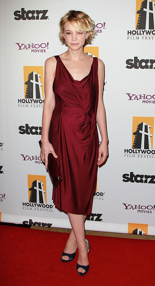 """<a href=""""http://movies.yahoo.com/movie/contributor/1808686699"""">Carey Mulligan</a> attends the 14th Annual Hollywood Awards Gala at the Beverly Hilton Hotel on October 25, 2010."""