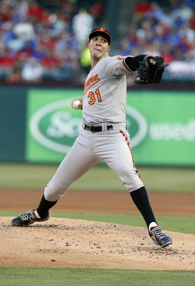 Baltimore Orioles' Ubaldo Jimenez throws a pitch in the first inning of a baseball game against the Texas Rangers on Tuesday, June 3, 2014, in Arlington, Texas. (AP Photo/Sharon Ellman)