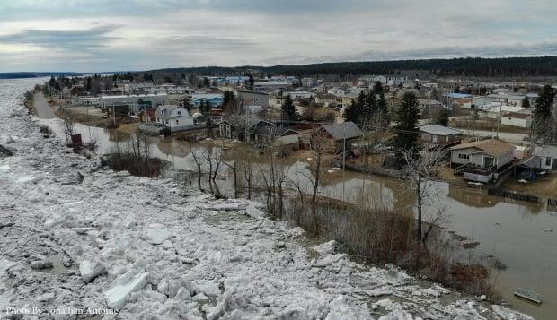 Fort Simpson at the height of the 2021 spring flood.  (Submitted by Jonathan Antoine - image credit)