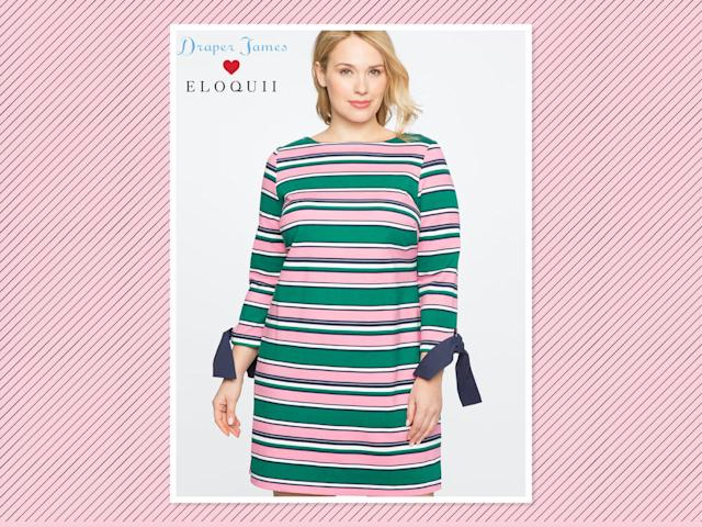 "<p>Draper James for Eloquii striped tie-sleeve dress, $145, <a href=""http://www.eloquii.com/draper-james-for-eloquii-striped-tie-sleeve-dress/1246046.html?cgid=draper-james&start=1&dwvar_1246046_colorCode=33"" rel=""nofollow noopener"" target=""_blank"" data-ylk=""slk:Eloquii"" class=""link rapid-noclick-resp"">Eloquii</a> (currently waitlist only) (Photo: Eloquii) </p>"