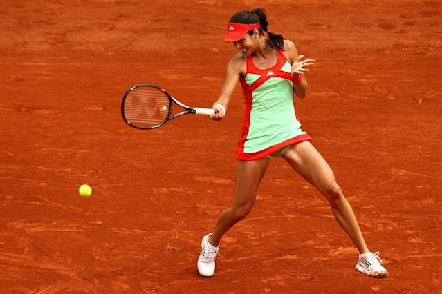 PARIS, FRANCE - JUNE 01: Ana Ivanovic of Serbia returns during her women's singles third round match against Sara Errani of Italy during day six of the French Open at Roland Garros on June 1, 2012 in Paris, France. (Photo by Matthew Stockman/Getty Images)