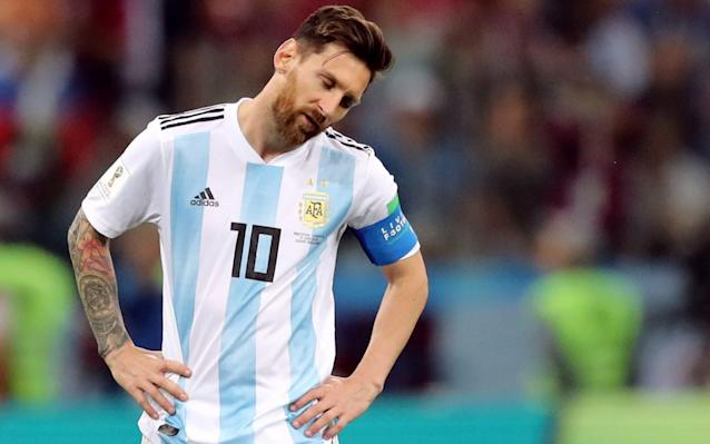 In a Mess: Messi looks on as Croatia inflicted a brutal 3-0 World Cup defeat on Argentina