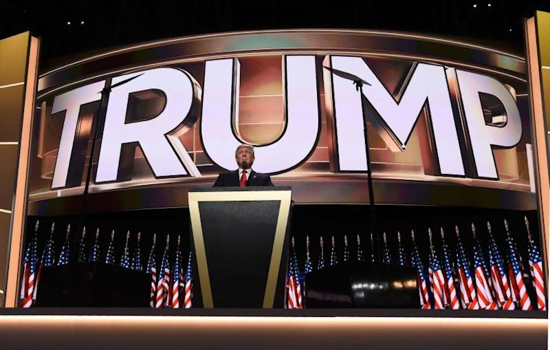 Republican presidential candidate Donald Trump addresses delegates on the final night of the Republican National Convention at the Quicken Loans Arena in Cleveland.