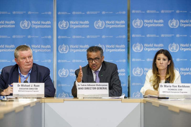 In this Monday, March 9, 2020 photo, Tedros Adhanom Ghebreyesus, director general of the World Health Organization speaks during a news conference on updates regarding on the novel coronavirus COVID-19, at the WHO headquarters in Geneva, Switzerland. Accompanying him are Michael Ryan, left, executive director of WHO's Health Emergencies program, and Maria van Kerkhove, right, technical lead of WHO's Health Emergencies program. On Wednesday, March 11, 2020, the WHO declared the new coronavirus a pandemic, suggesting the disease is spreading across the globe unchecked. (Salvatore Di Nolfi/Keystone via AP)