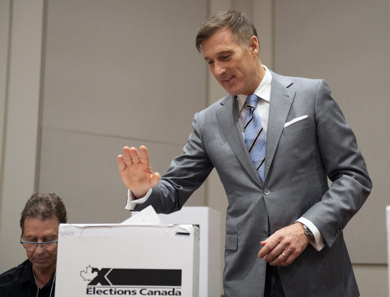 People's Party of Canada Leader Maxime Bernier casts his ballot in Saint-Georges, Quebec, Monday, Oct. 21, 2019. (Jacques Boissinot/The Canadian Press via AP)