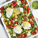 """<p>This fish tray bake is a one-dish, healthy midweek meal.</p><p><strong>Recipe: <a href=""""https://www.goodhousekeeping.com/uk/food/recipes/a563912/fish-traybake-with-salsa-verde/"""" rel=""""nofollow noopener"""" target=""""_blank"""" data-ylk=""""slk:Fish tray bake with salsa verde"""" class=""""link rapid-noclick-resp"""">Fish tray bake with salsa verde</a></strong></p>"""