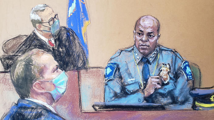 Hennepin County District Judge Peter Cayhill said Minneapolis Police Department Chief Medalia Aradondo tried two, three, and two manslaughter trials of former Minneapolis police officer Derek Chauvin (L). I hear you answer the question on the day. In this court sketch, a photo of George Floyd in Minneapolis, USA, April 5, 2021.Reuters / Jane Rosenberg