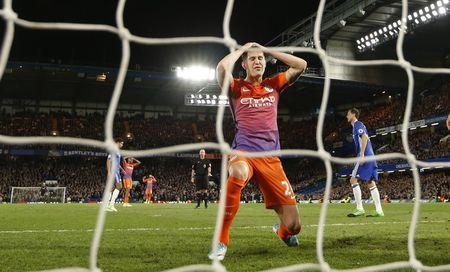 Britain Soccer Football - Chelsea v Manchester City - Premier League - Stamford Bridge - 5/4/17 Manchester City's John Stones reacts after a missed chance Action Images via Reuters / John Sibley Livepic