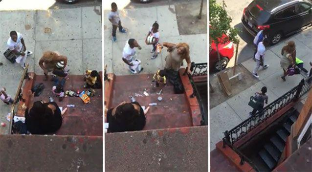 The argument played out in front of several people, including children. Source: LiveLeak