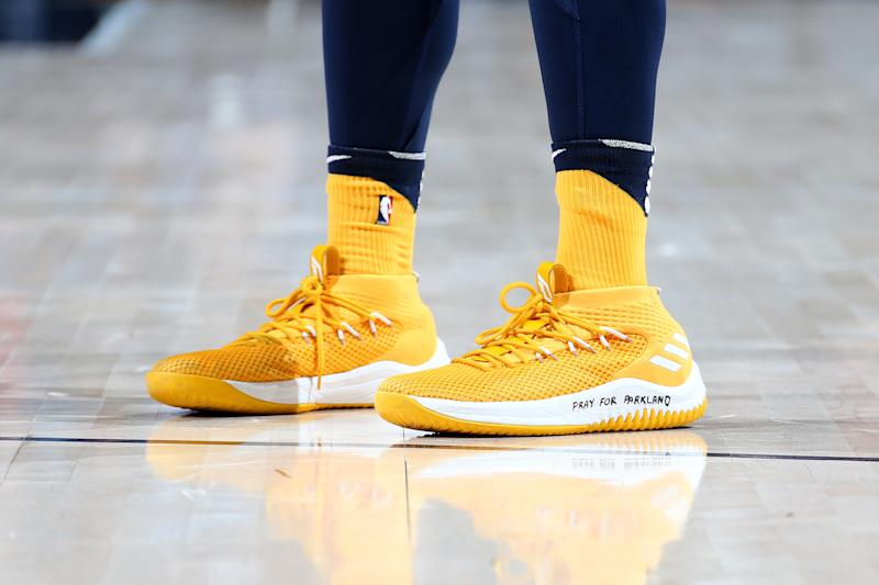 The sneakers of Donovan Mitchell of the Utah Jazz during the game against the Phoenix Suns on February 14, 2018, at Vivint Smart Home Arena in Salt Lake City. (Melissa Majchrzak via Getty Images)