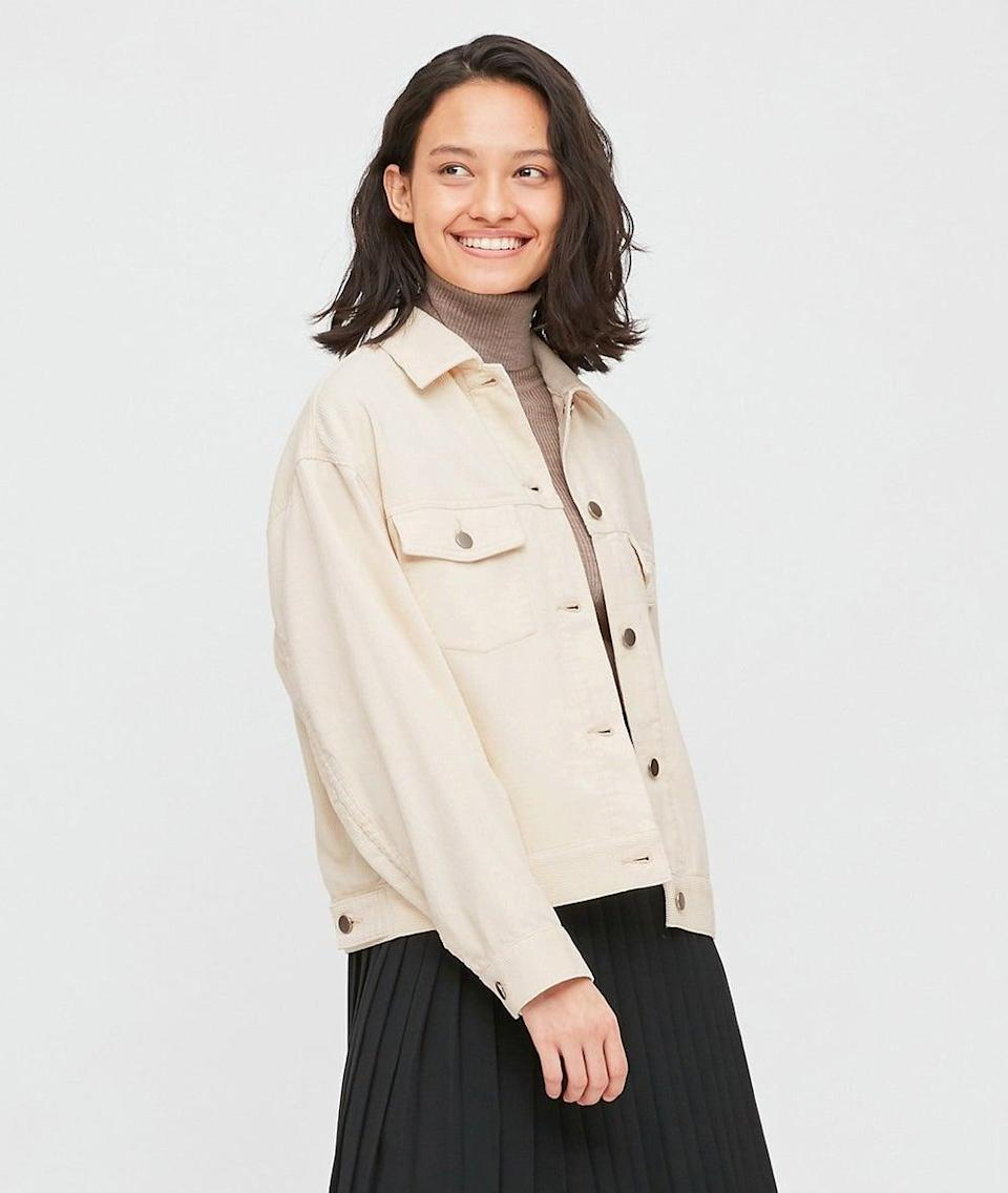 """<br><br><strong>Uniqlo</strong> Corduroy Relaxed Jacket, $, available at <a href=""""https://www.uniqlo.com/uk/en/product/women-corduroy-relaxed-jacket-430425COL01SMA003000.html"""" rel=""""nofollow noopener"""" target=""""_blank"""" data-ylk=""""slk:Uniqlo"""" class=""""link rapid-noclick-resp"""">Uniqlo</a>"""