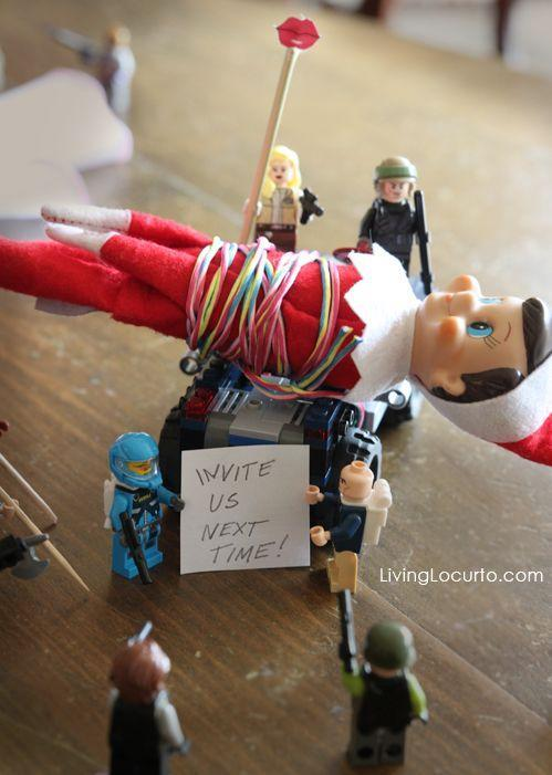 """<p>Apparently, this elf threw a party the previous night and forgot to invite a few plastic friends. They sought revenge the following day.</p><p><strong>Get the tutorial at <a href=""""https://www.livinglocurto.com/elf-shelf-lego-2/"""" rel=""""nofollow noopener"""" target=""""_blank"""" data-ylk=""""slk:Living Locurto"""" class=""""link rapid-noclick-resp"""">Living Locurto</a>.</strong></p><p><a class=""""link rapid-noclick-resp"""" href=""""https://www.amazon.com/LEGO-NINJAGO-Legacy-Jungle-Building/dp/B07WGB2FRF/ref=sxin_9_ac_d_rm?tag=syn-yahoo-20&ascsubtag=%5Bartid%7C10050.g.22690552%5Bsrc%7Cyahoo-us"""" rel=""""nofollow noopener"""" target=""""_blank"""" data-ylk=""""slk:SHOP LEGOS"""">SHOP LEGOS </a></p>"""