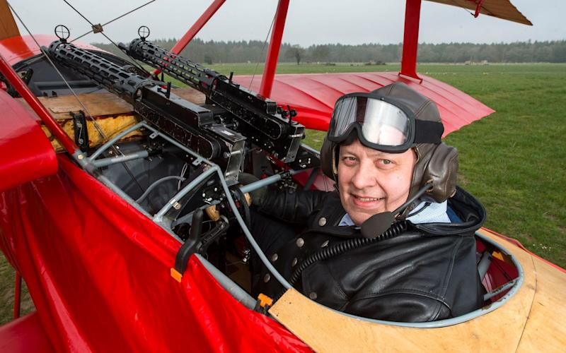 Peter von Brueggemann with the Fokker Dreidecker - PhilYeomans/BNPS