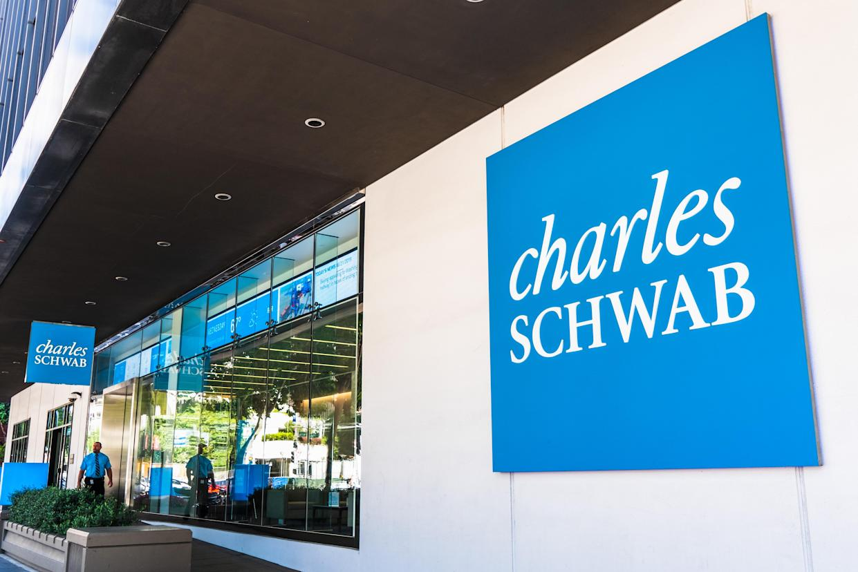 August 21, 2019 San Francisco / CA / USA - Charles Schwab office building in SOMA district; The Charles Schwab Corporation is a bank and stock brokerage firm