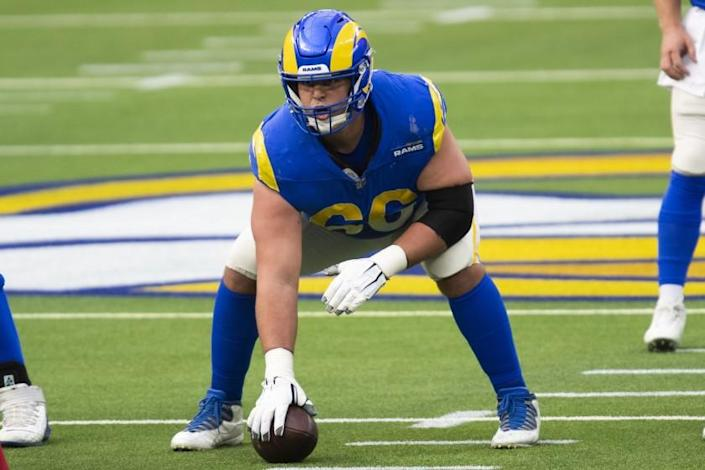 Los Angeles Rams center Austin Blythe (66) during an NFL football game against the Arizona Cardinals Sunday, Jan. 3, 2021, in Inglewood, Calif. (AP Photo/Kyusung Gong)