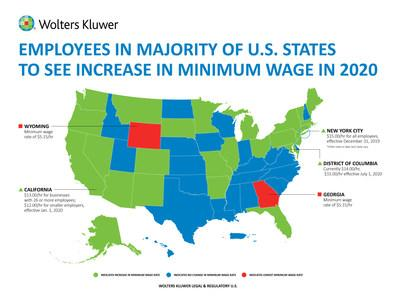 Employees in majority of U.S. states to see increase in minimum wage in 2020. (Credit: Wolters Kluwer Legal & Regulatory U.S.)