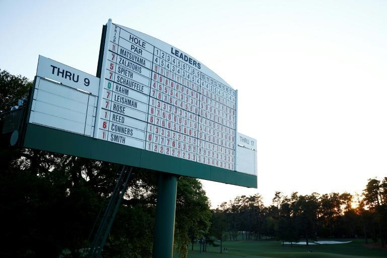 The leaderboard at Augusta's famous 18th green shows Hideki Matsuyama as Masters champion