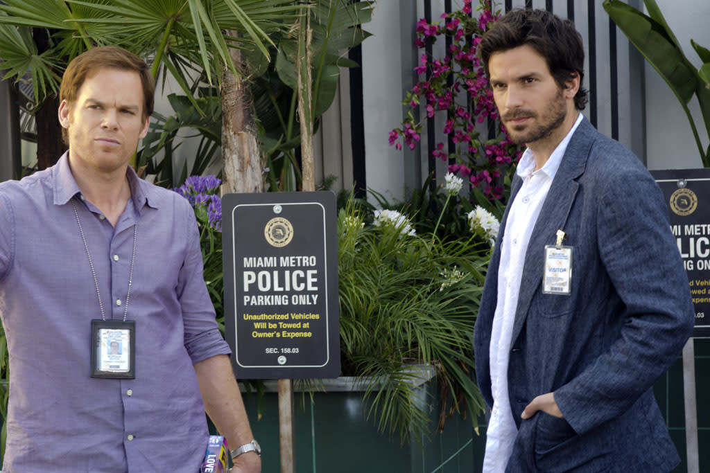 "Michael C. Hall as Dexter Morgan and Santiago Cabrera as Sal Price in the ""Dexter"" episode, ""Do the Wrong Thing."""