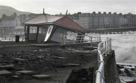 Storm damage is seen on the promenade at Aberystwyth mid Wales January 7, 2014. REUTERS/Rebecca Naden