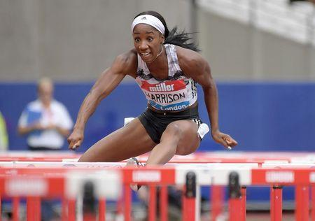 FILE PHOTO: Jul 22, 2018; London, United Kingdom; Keni Harrison aka Kendra Harrison (USA) wins the women's 100m hurdles in 12.36 during the London Anniversary Games at Olympic Stadium at Queen Elizabeth Olympic Park. Mandatory Credit: Kirby Lee-USA TODAY Sports