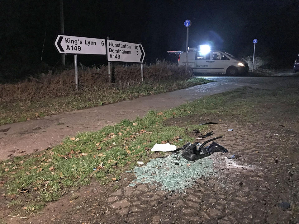 <em>Debris was left at the scene of the crash on the A149 (Picture: PA)</em>