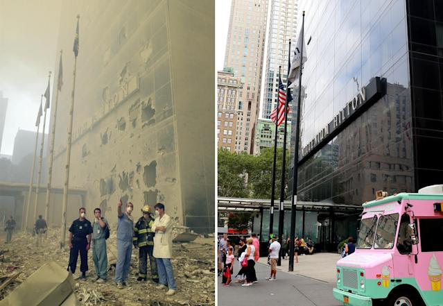 <p>Medical and emergency workers standing in front of the Millenium Hilton look toward where the World Trade Center towers used to be after the terrorist attack on the twin towers on Sept. 11, 2001, left; tourists stand outside the Millennium Hilton on Aug. 12, 2017. (Photos: Mark Lennihan/AP – Gordon Donovan/Yahoo News) </p>