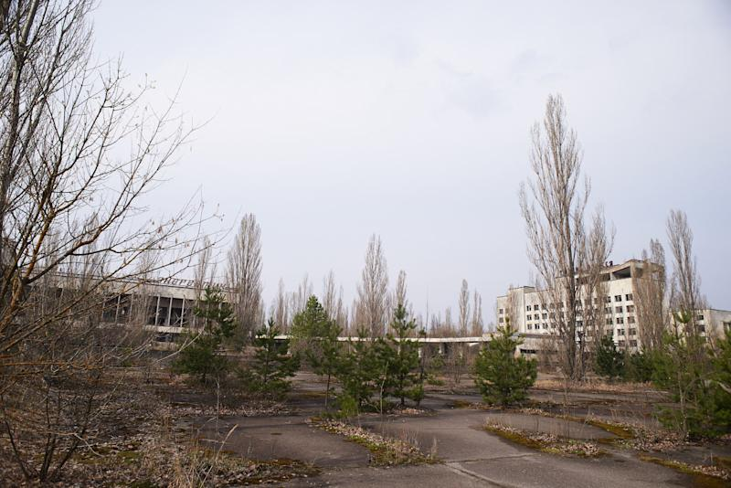 An abandoned main central square in the Pripyat, near the Chernobyl nuclear power plant in the Exclusion Zone, Ukraine. (Photo: Vitaliy Holovin/Corbis via Getty images)