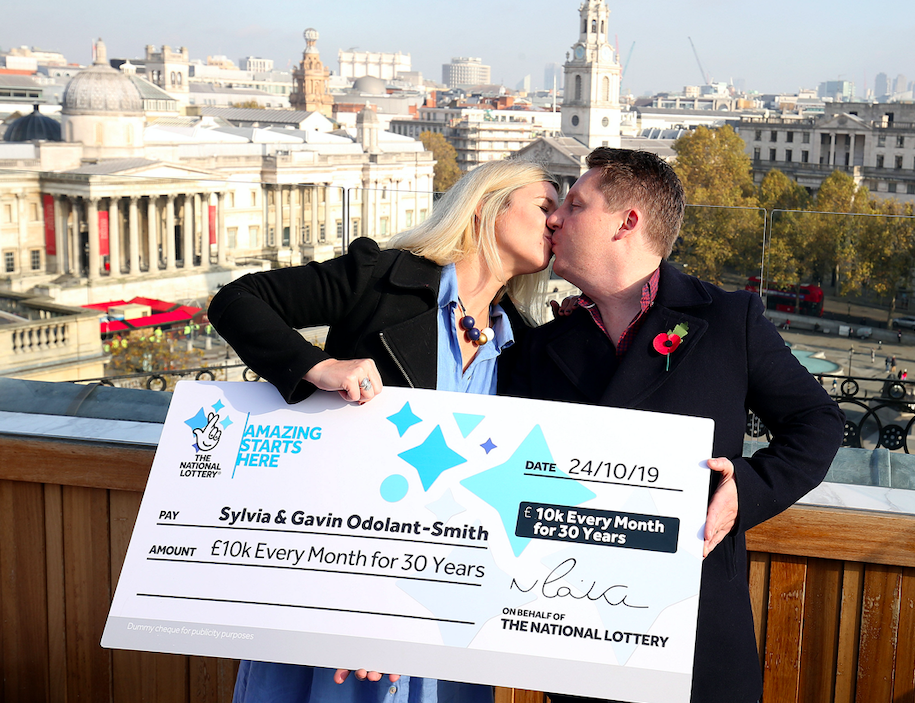 Mr and Mrs Odlant-Smith have won £10,000 a month for the next 30 years on the National Lottery Set For Life game (PA)