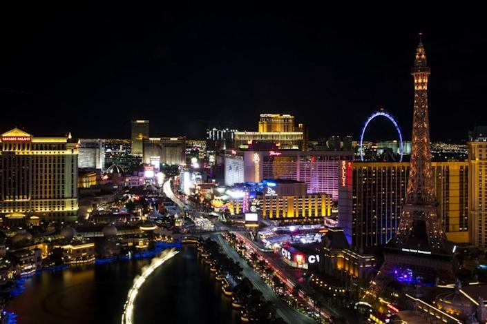 "The Las Vegas Strip may again look like this 2019 photo if Nevada can reopen its casinos June 4. <span class=""copyright"">(Kent Nishimura / Los Angeles Times)</span>"