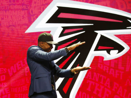 Apr 28, 2016; Chicago, IL, USA; Keanu Neal (Florida) is selected by the Atlanta Falcons as the number seventeen overall pick in the first round of the 2016 NFL Draft at Auditorium Theatre. Mandatory Credit: Kamil Krzaczynski-USA TODAY Sports / Reuters