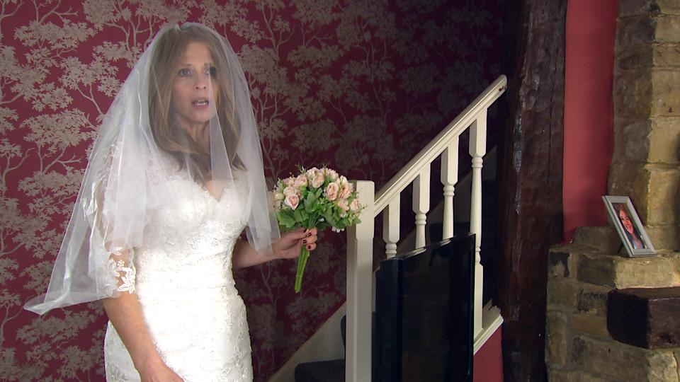 FROM ITV  STRICT EMBARGO  Print media - No Use Before Tuesday 8th June 2021 Online Media - No Use Before 0700hrs  Tuesday 8th June 2021  Emmerdale - Ep 907576  Thursday 17th June 2021  On her wedding day, Leyla HardingÕs [ROXY SHAHIDI] horror struck to find Bernice Blackstock [SAMANTHA GILES] wearing a wedding dress.   Picture contact David.crook@itv.com   This photograph is (C) ITV Plc and can only be reproduced for editorial purposes directly in connection with the programme or event mentioned above, or ITV plc. Once made available by ITV plc Picture Desk, this photograph can be reproduced once only up until the transmission [TX] date and no reproduction fee will be charged. Any subsequent usage may incur a fee. This photograph must not be manipulated [excluding basic cropping] in a manner which alters the visual appearance of the person photographed deemed detrimental or inappropriate by ITV plc Picture Desk. This photograph must not be syndicated to any other company, publication or website, or permanently archived, without the express written permission of ITV Picture Desk. Full Terms and conditions are available on  www.itv.com/presscentre/itvpictures/terms