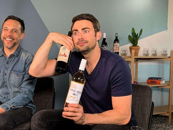 PHOTO: Actor Jonathan Bennett with the Nocking Point bottles inspired by 'Mean Girls.' (Nocking Point Wines)