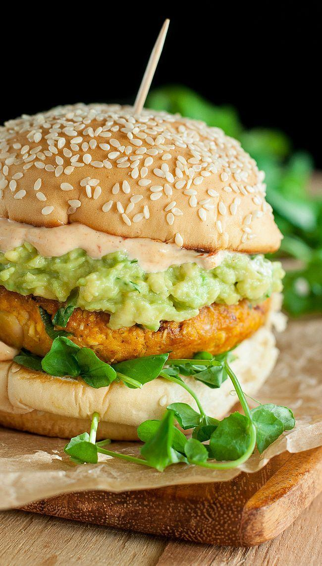 """<p>This pumpkin white bean burger is packed with bold and smoky chipotle peppers, and is topped with greens and buttery avocado for a healthy, tasty meal. </p><p><strong>Get the recipe at <a href=""""http://peasandcrayons.com/2015/10/chipotle-pumpkin-veggie-burgers.html"""" rel=""""nofollow noopener"""" target=""""_blank"""" data-ylk=""""slk:Peas and Crayons"""" class=""""link rapid-noclick-resp"""">Peas and Crayons</a>.</strong></p>"""