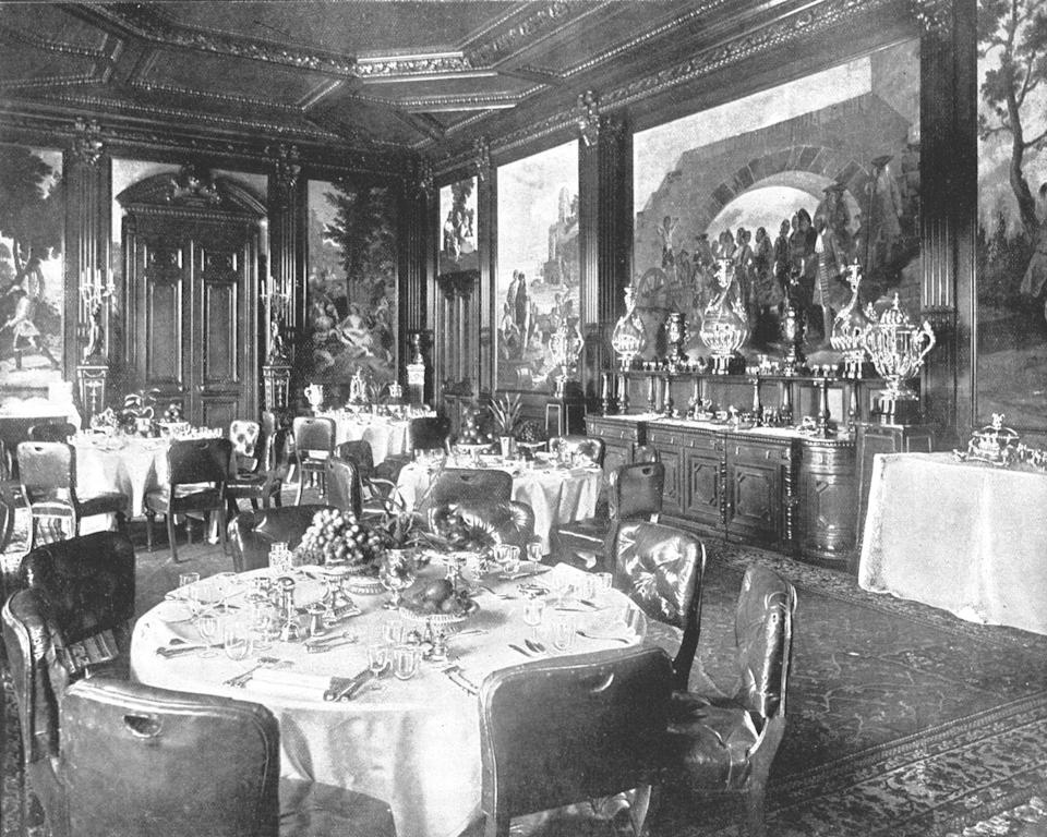 """<p>The dining room at Sandringham has limited seating. <a href=""""https://www.popsugar.com/celebrity/photo-gallery/39222051/image/39223576/Make-Do-Sleeping-Arrangements"""" rel=""""nofollow noopener"""" target=""""_blank"""" data-ylk=""""slk:According to PopSugar"""" class=""""link rapid-noclick-resp"""">According to <em>PopSugar</em></a>, """"Christmas lunch is 24 adults, and children are seated in the nursery."""" It's a pretty formal occasion, according to the <em><a href=""""http://www.telegraph.co.uk/christmas/0/do-royal-family-celebrate-christmas-will-william-kate-harry/"""" rel=""""nofollow noopener"""" target=""""_blank"""" data-ylk=""""slk:Telegraph"""" class=""""link rapid-noclick-resp"""">Telegraph</a></em>, """"with the men wearing black tie suits and the woman wearing gowns, expensive jewelery, and tiaras.""""</p><p>The highlight of the menu is roast turkey, traditionally from <a href=""""https://www.dailymail.co.uk/news/article-5186803/What-Royals-REALLY-Sandringham-Christmas.html"""" rel=""""nofollow noopener"""" target=""""_blank"""" data-ylk=""""slk:local butcher Scoles in Dersingham"""" class=""""link rapid-noclick-resp"""">local butcher Scoles in Dersingham</a>, and the royal family's Christmas pudding, which is prepared a year in advance to give it time to mature, apparently. </p>"""