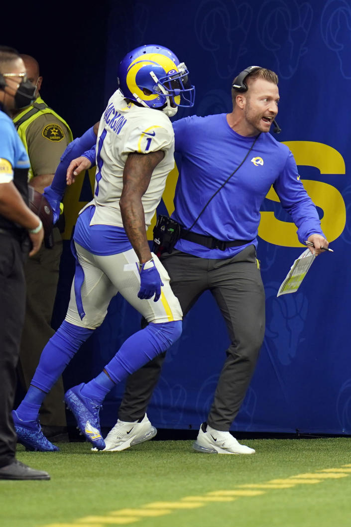 Los Angeles Rams wide receiver DeSean Jackson, left, celebrates his touchdown catch with head coach Sean McVay during the second half of an NFL football game against the Tampa Bay Buccaneers Sunday, Sept. 26, 2021, in Inglewood, Calif. (AP Photo/Jae C. Hong)