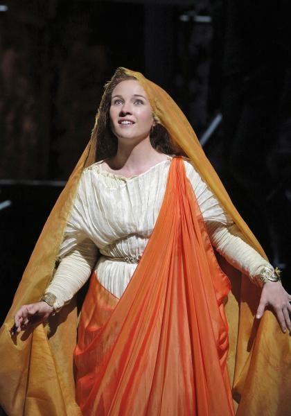 This June 16, 2013 photo released by the San Francisco Opera is Sasha Cooke as Mary Magdalene in the summer opera, The Gospel of Mary Magdalene, in San Francisco. (AP Photo/San Francisco Opera, Cory Weaver)