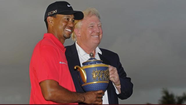 "<span>In declining to delve into challenging issues regarding President Donald Trump, </span> <a class=""link rapid-noclick-resp"" href=""https://sports.yahoo.com/pga/players/147/"" data-ylk=""slk:Tiger Woods"">Tiger Woods</a> <span> chose to prioritize business over taking a social stance. (Getty)<br></span>"