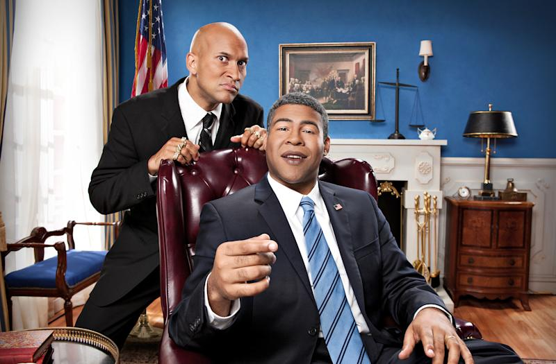 "This undated image released by Comedy Central shows Keegan-Michael Key, left, and Jordan Peele from the sketch comedy series ""Key & Peele."" Race and culture fuel much of their sketch-and-standup half-hour airing Wednesdays at 10:30 p.m. EDT on Comedy Central. (AP Photo/Comedy Central, Ian White)"
