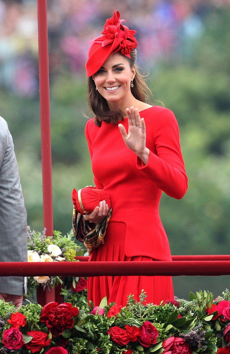 """<p> """"She needs to stand out for people to be able to say, 'I saw the Queen,'"""" <a href=""""https://www.townandcountrymag.com/society/tradition/news/a8027/kate-middleton-bright-colors/"""" rel=""""nofollow noopener"""" target=""""_blank"""" data-ylk=""""slk:Sophie the Countess of Wessex explained"""" class=""""link rapid-noclick-resp"""">Sophie the Countess of Wessex explained</a> in the documentary <em>The Queen at 90</em>. </p><p>And it seems like the Queen has passed this advice on to the future Queen, Kate Middleton. The Duchess has never been one to shy away from color, and in recent years, she's been going even brighter and brighter.</p>"""