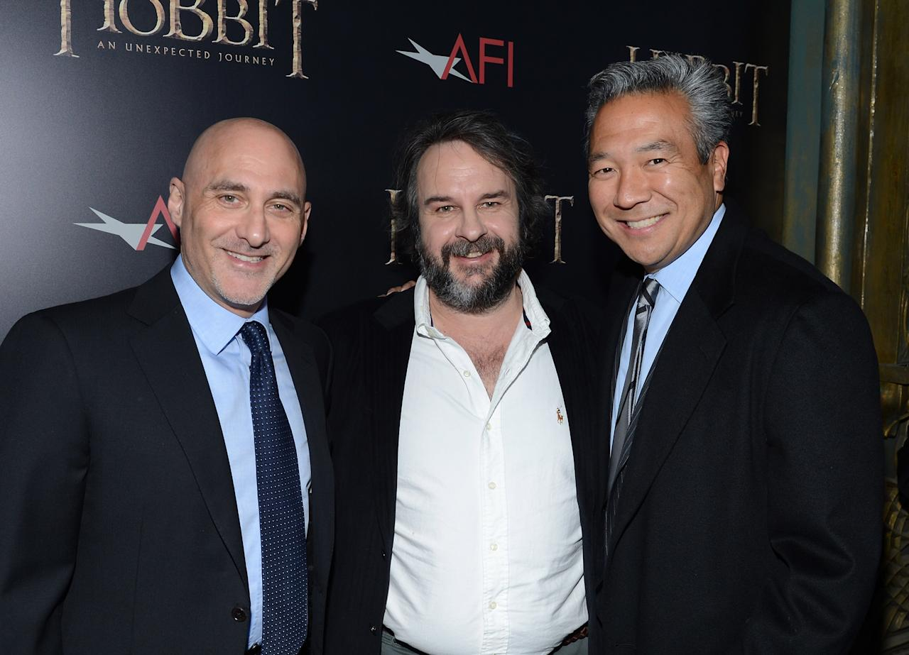 "NEW YORK, NY - DECEMBER 06: (L-R)  President of Warner Bros. Pictures Group Jeff Robinov, filmmaker Sir Peter Jackson, and President of Warner Bros. Home Entertainment Group Kevin Tsujihara attend ""The Hobbit: An Unexpected Journey"" New York premiere benefiting AFI at Ziegfeld Theater on December 6, 2012 in New York City.  (Photo by Andrew H. Walker/Getty Images)"