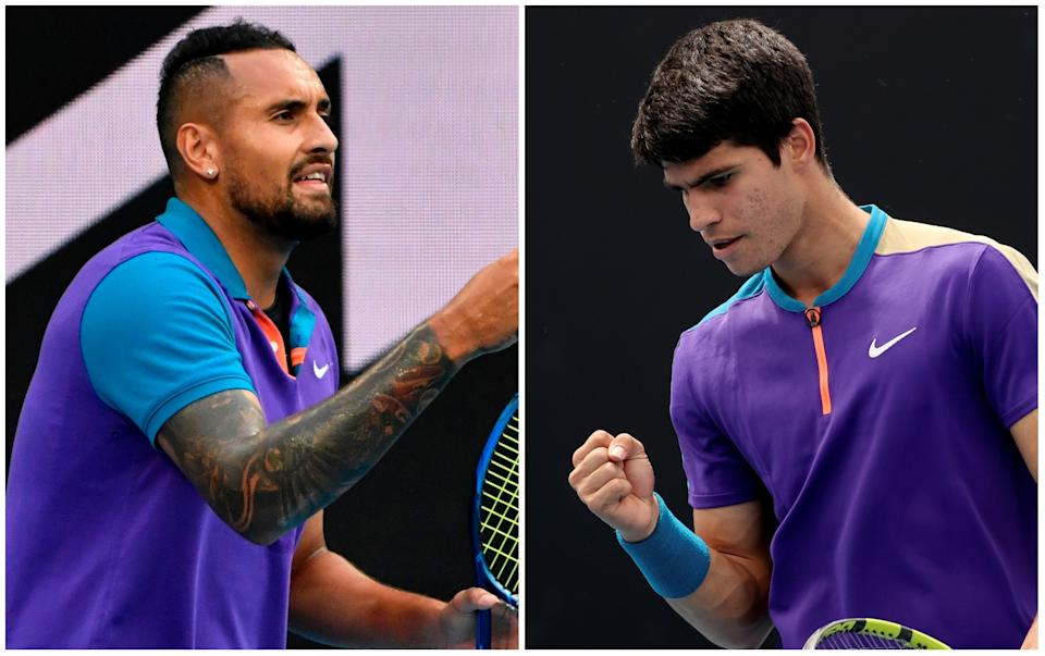 Nick Kyrgios y Carlos Alcaraz. (Foto: Paul Crock / AFP / Getty Images / David Gray / AFP / Getty Images).