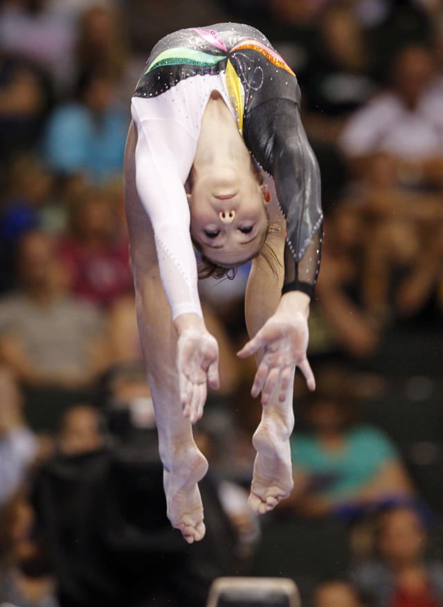 McKayla Maroney competes on the balance beam at the U.S. gymnastics championships, Saturday, Aug. 20, 2011, in St. Paul, Minn. Maroney placed second in the all-around. (AP Photo/Genevieve Ross)